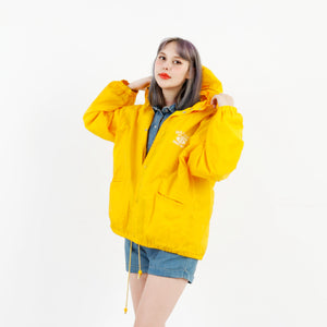 Naf Naf League Unisex M Vintage Oversize Raincoat Jacket Yellow M2992