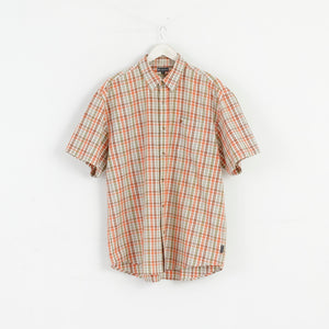 Gaupa Men XL NEW Classic Short Sleeve Shirt Check Brown M3096