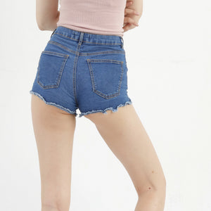 Bershka Women 36 S High Waist Shorts Ripped Legs Blue Cotton A2492
