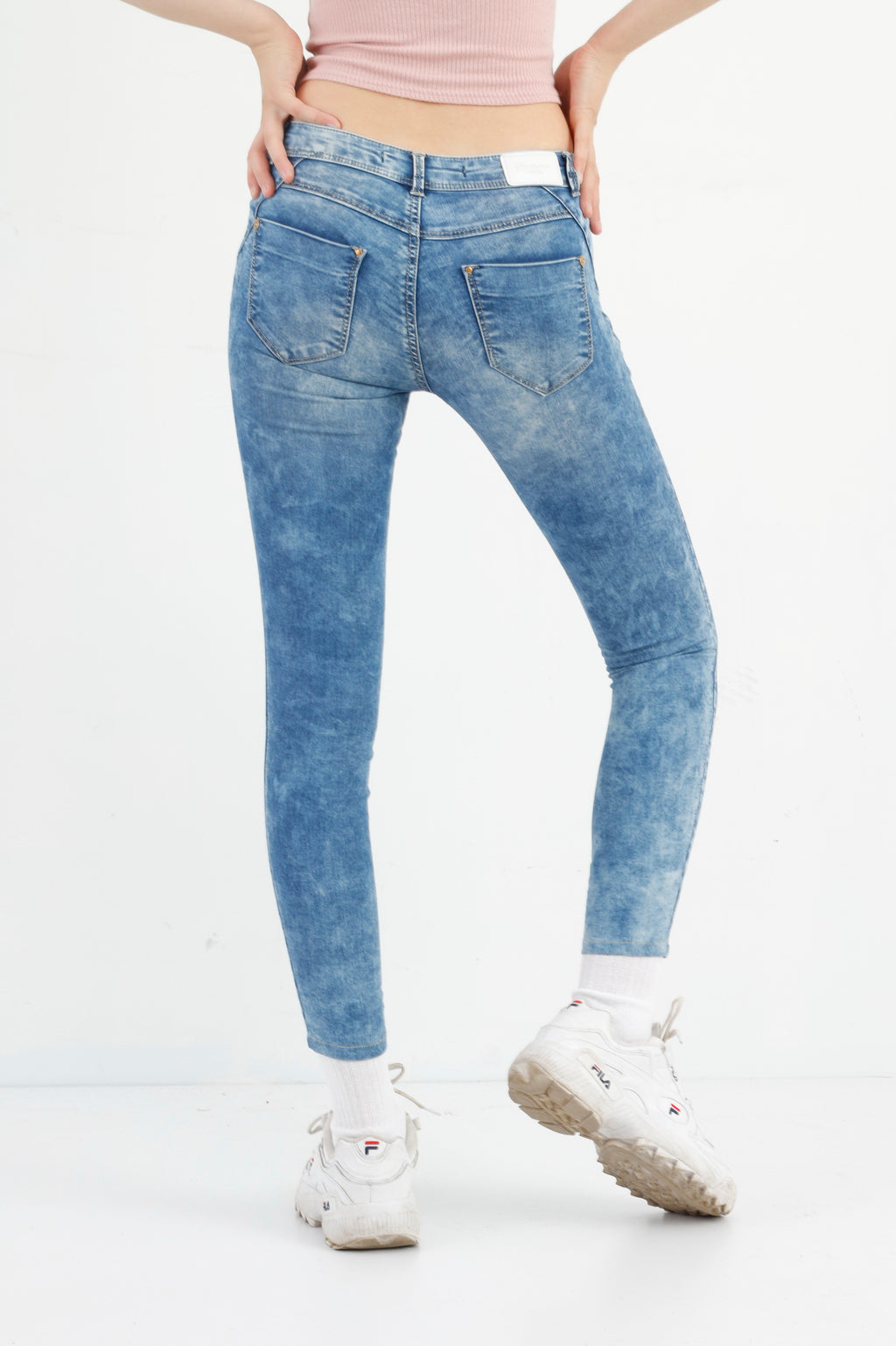 Stradivarius Women 34 XS Skinny Jeans Discoloration Blue Cotton A2491