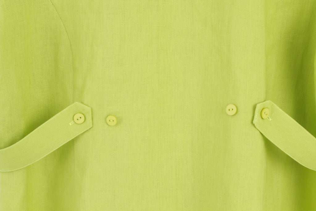 Anne Carson Women L Vintage Short Sleeve Shirt Linen Green M2696