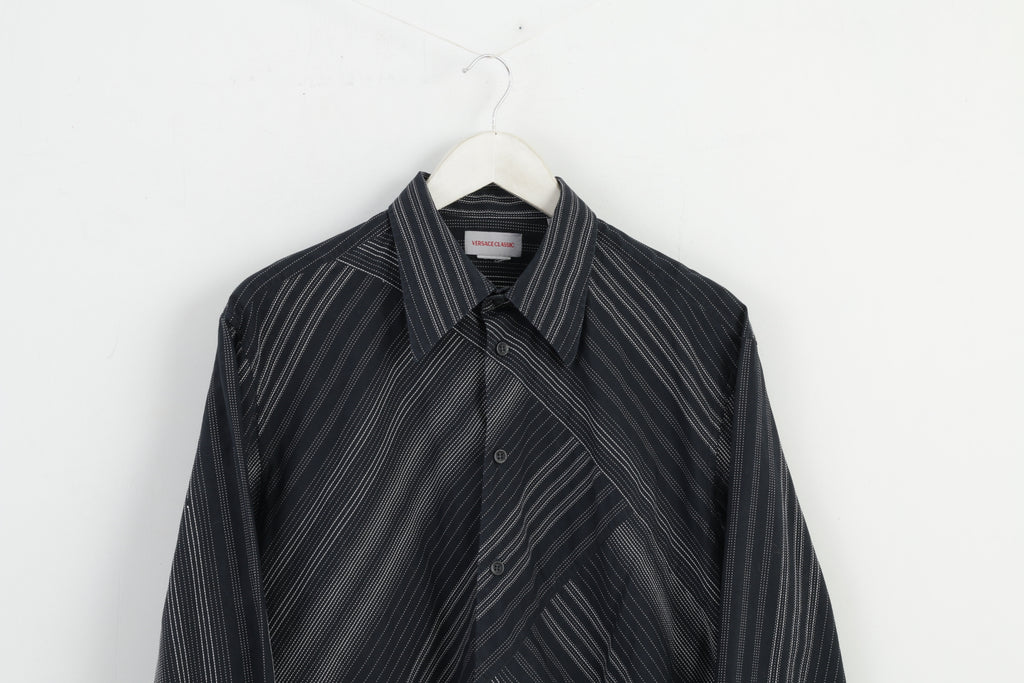 Versace Classic Men 41 L Casual Office Shirt White Stripes Black M2853