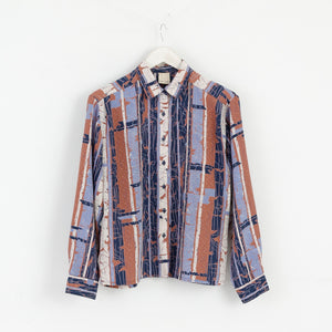 Petri Women S Vintage Casual Shirt Blue Brown Pattern Polyester M2984