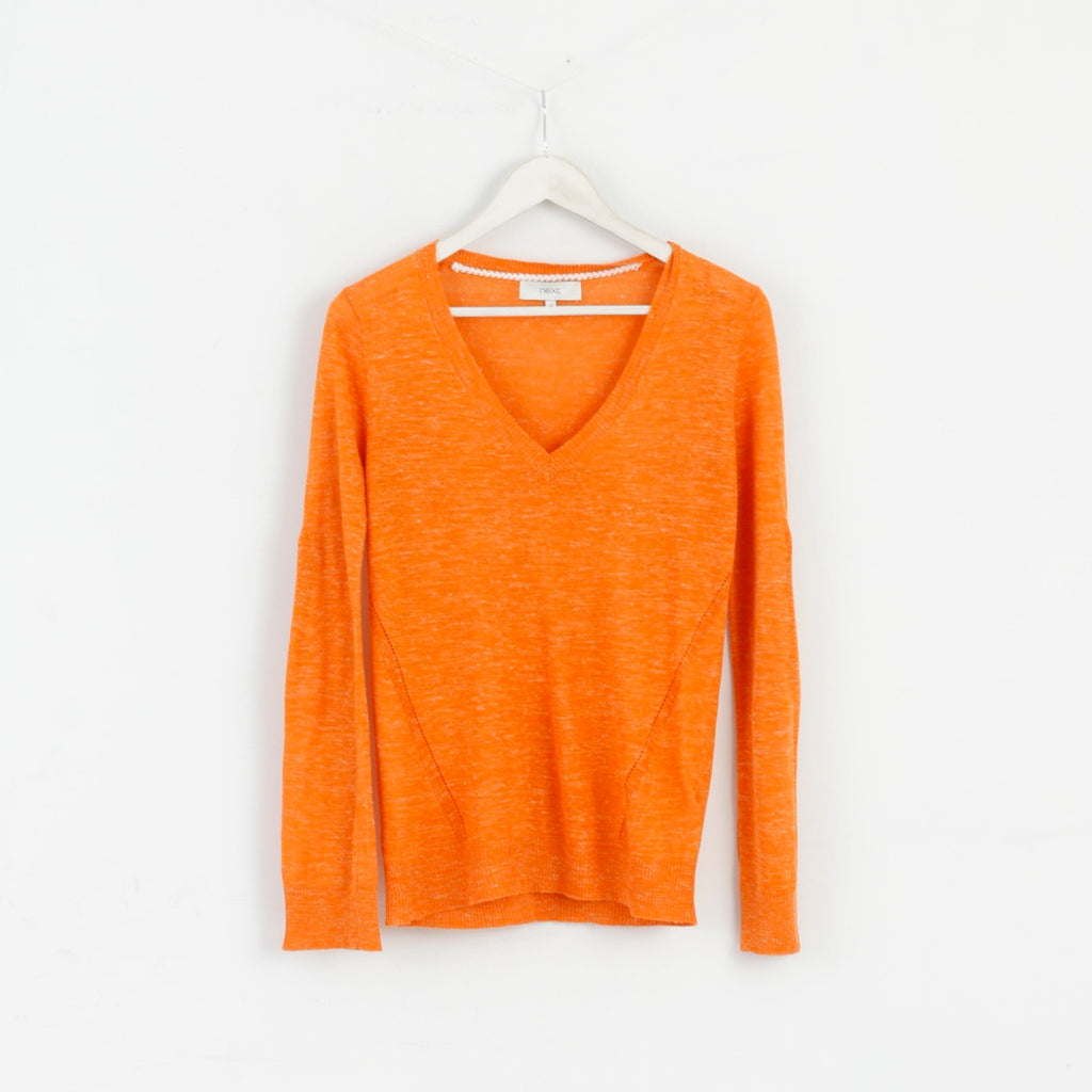 Next Women 10 M Sweater Blouse V-Neck Orange M2999