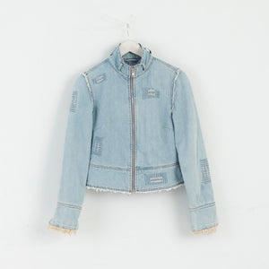 Miss Selfridge Women 8 S Denim Jacket Fray Jeans Blue M3017