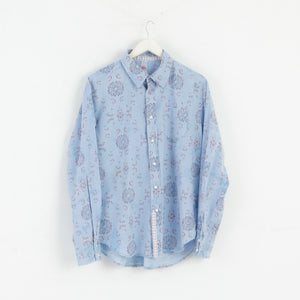 Replay Men L Casual Shirt Cotton Snow Pattern Blue M3042
