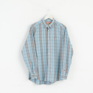 Replay Men L Casual Shirt Button-up Check Regular Cotton Blue M3044