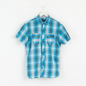 Levi's Levi Strauss & Co. Men M Short Sleeve Shirt Check Blue M3046