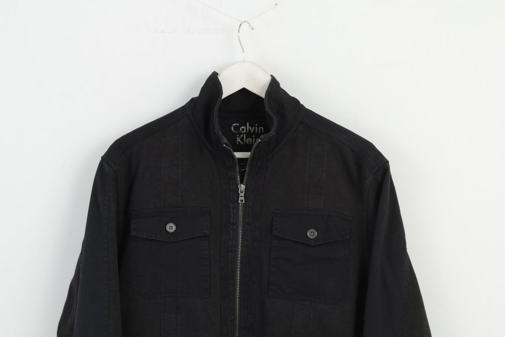 Calvin Klein Men L Denim Jacket Blouse Cotton Black M3050