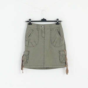 H&M L.O.G.G. Women 34 S Mini Denim Skirt Military Green M3051