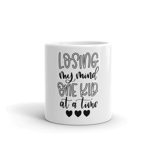 Loosing My Mind One Kid at a Time White glossy mug