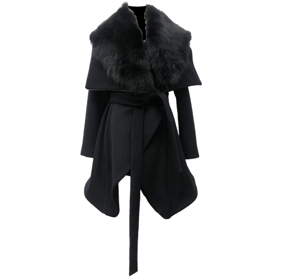 14100 The London Coat with Detachable Fox Fur Collar