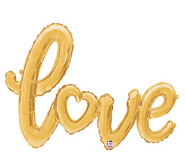 "47"" Love balloon -GOLD SCRIPT"