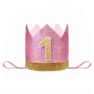 Pick & Gold First Birthday Crown