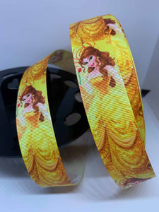 1 yard 1 inch Disney Princess Belle Beauty and the Beast Lanyard style Grosgrain Ribbon