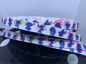 "1 yard 3/8"" Lilo and stitch  Stitch Ribbon Grosgrain Ribbon"