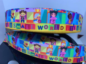 "1 yard 7/8"" Disneyland Its a Small World Children Grosgrain Ribbon"