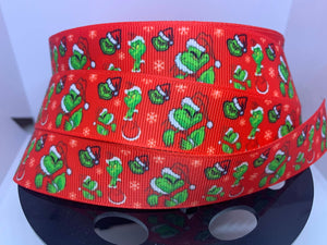 1 Yard 1 inch Grumpy Green Christmas guy with Red Background Grosgrain Ribbon