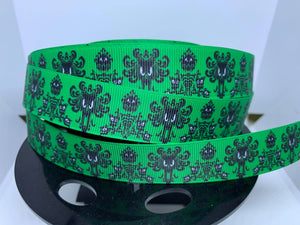"1 yard 7/8"" Green Disney Haunted Mansion Wallpaper Print Grosgrain Ribbon"
