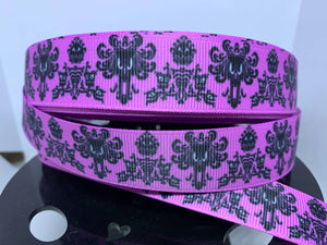 "1 yard 7/8"" Lavender Disney Haunted Mansion Wallpaper Print Grosgrain Ribbon"