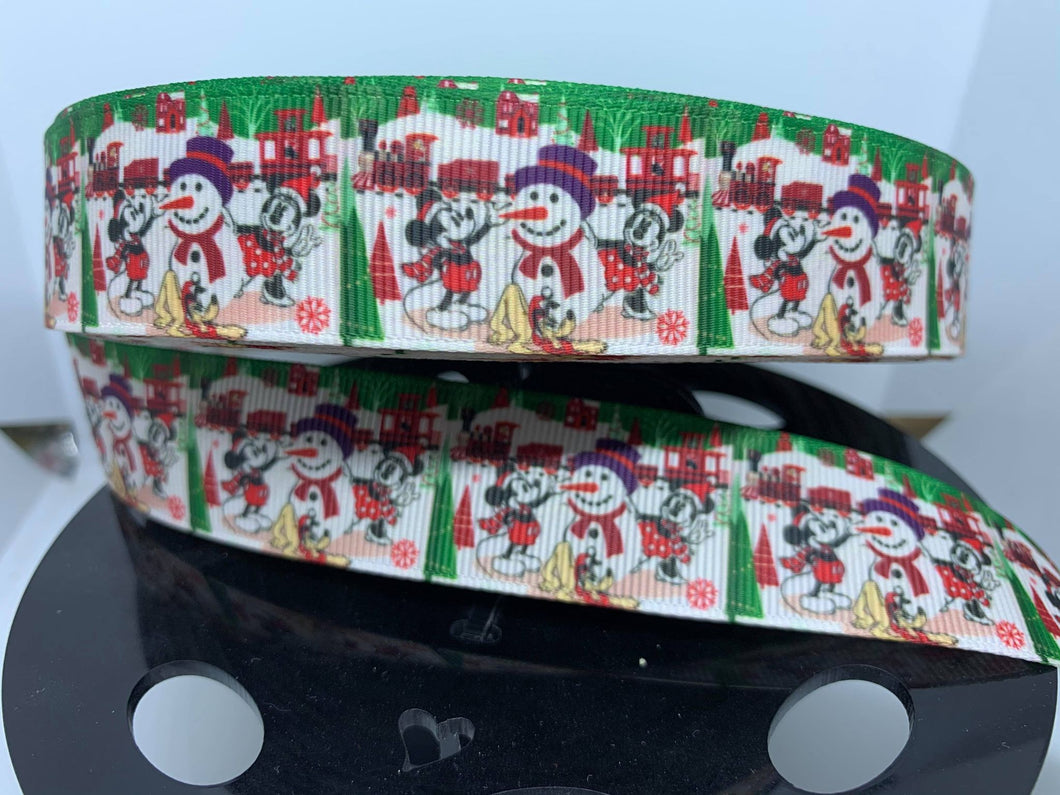 1 inch Christmas Classic Mickey & Minnie Mouse Grosgrain Ribbon