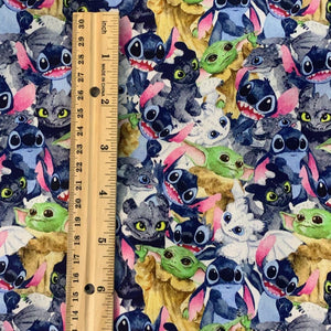 100% Cotton Mando Kid Toothless Stitch Light Fury print Custom Fabric
