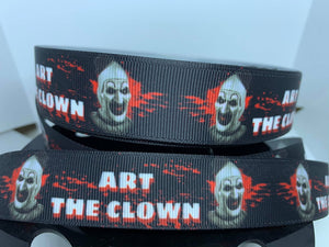 "1 yard 1 inch Horror Art the Clown ""Terrifier"" Movies Grosgrain Ribbon"