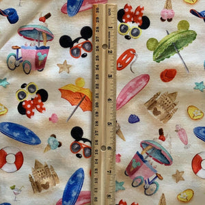 100% Cotton Mickey And Minnie Disney Beach Background Vacation Fabric
