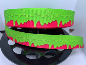 "1 yard 7/8"" Dripping Green Slime Grosgrain Ribbon"