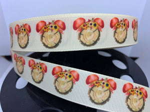 "1 yard 7/8"" Disney Mickey Inspired Wood and mushrooms Fall print Ribbon"