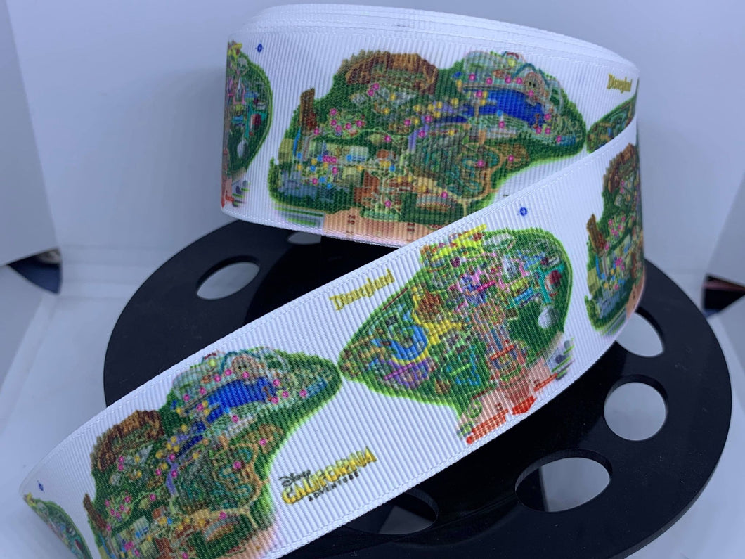 1 Yard 1 1/2 inch Disneyland and California Adventures Park Map Ribbon