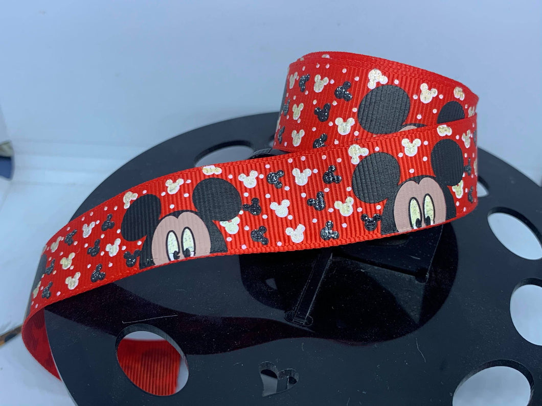 1 yard 1 inch Mickey Mouse on Red Grosgrain Ribbon Foil print Print