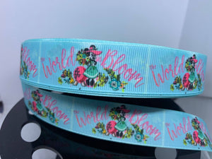 "1 yard 7/8"" Minnie Mouse ""World in Bloom"" Grosgrain Ribbon"