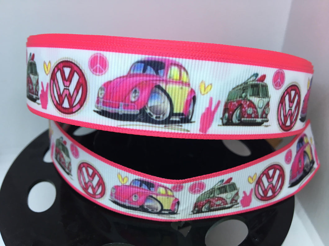 1 yard 1 inch Pink VW Volkswagen Bus or Vdub Bug Grosgrain Ribbon - Bow Making Ribbon - peace and Love Grosgrain Ribbon