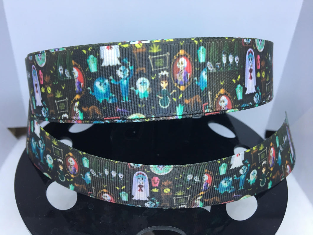 1 yard 1 inch Haunted House Purse Print Grosgrain Ribbon