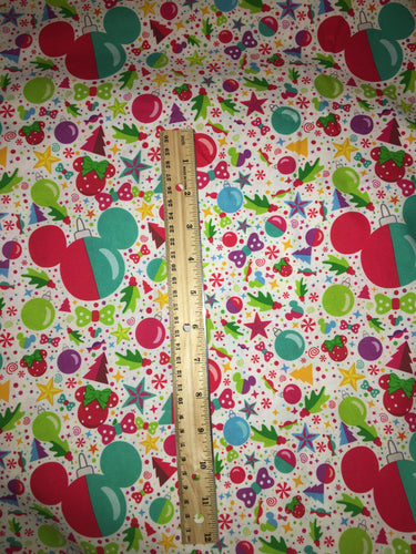CLEARENCE FLAWED 100% Cotton Christmas Confetti Mickey Print Inspired Fabric