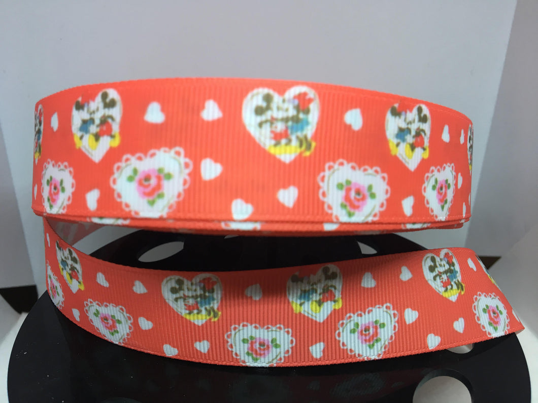 1 Yard 1 inch Valentines Day Hearts Mickey and Minnie Grosgrain Ribbon, Disney Inspired ribbon, craft supply, hair bow, dog collar