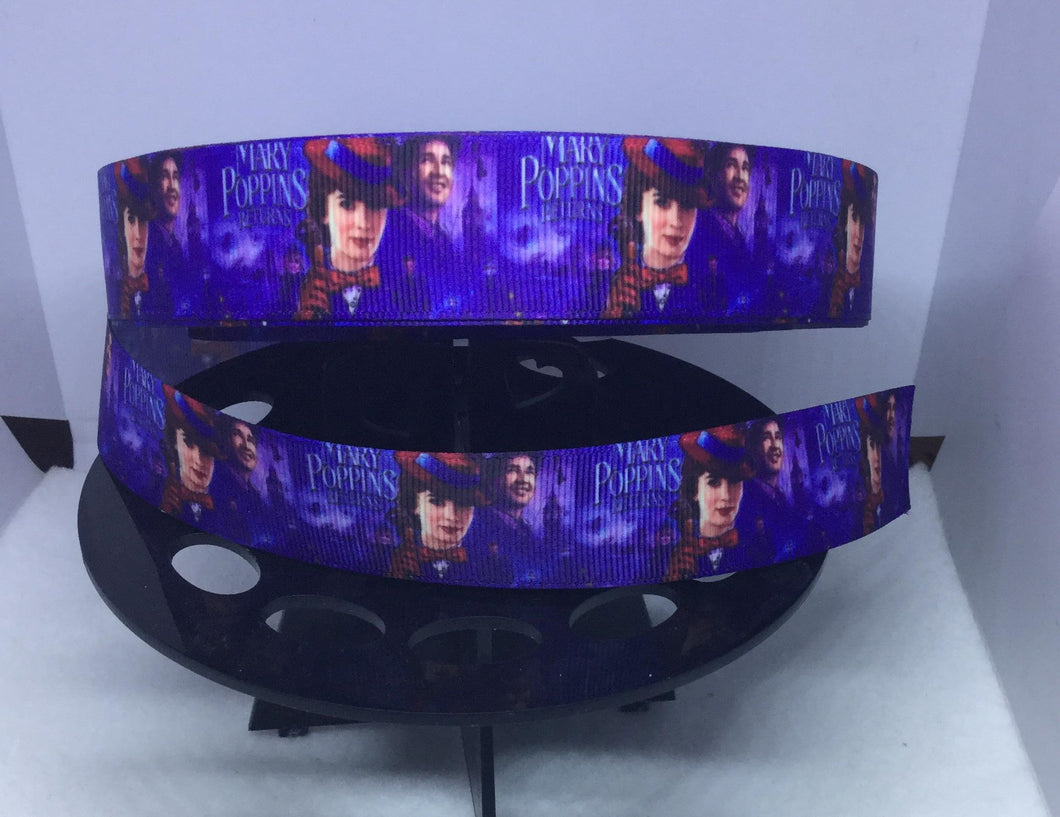 CLEARANCE 1 yard 1 inch New Mary Poppins Returns Print Grosgrain Ribbon - Bow Making Ribbon Disney Movie