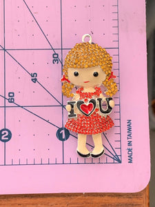 I love you Valentines Girl Rhinestone and Paint Pendant