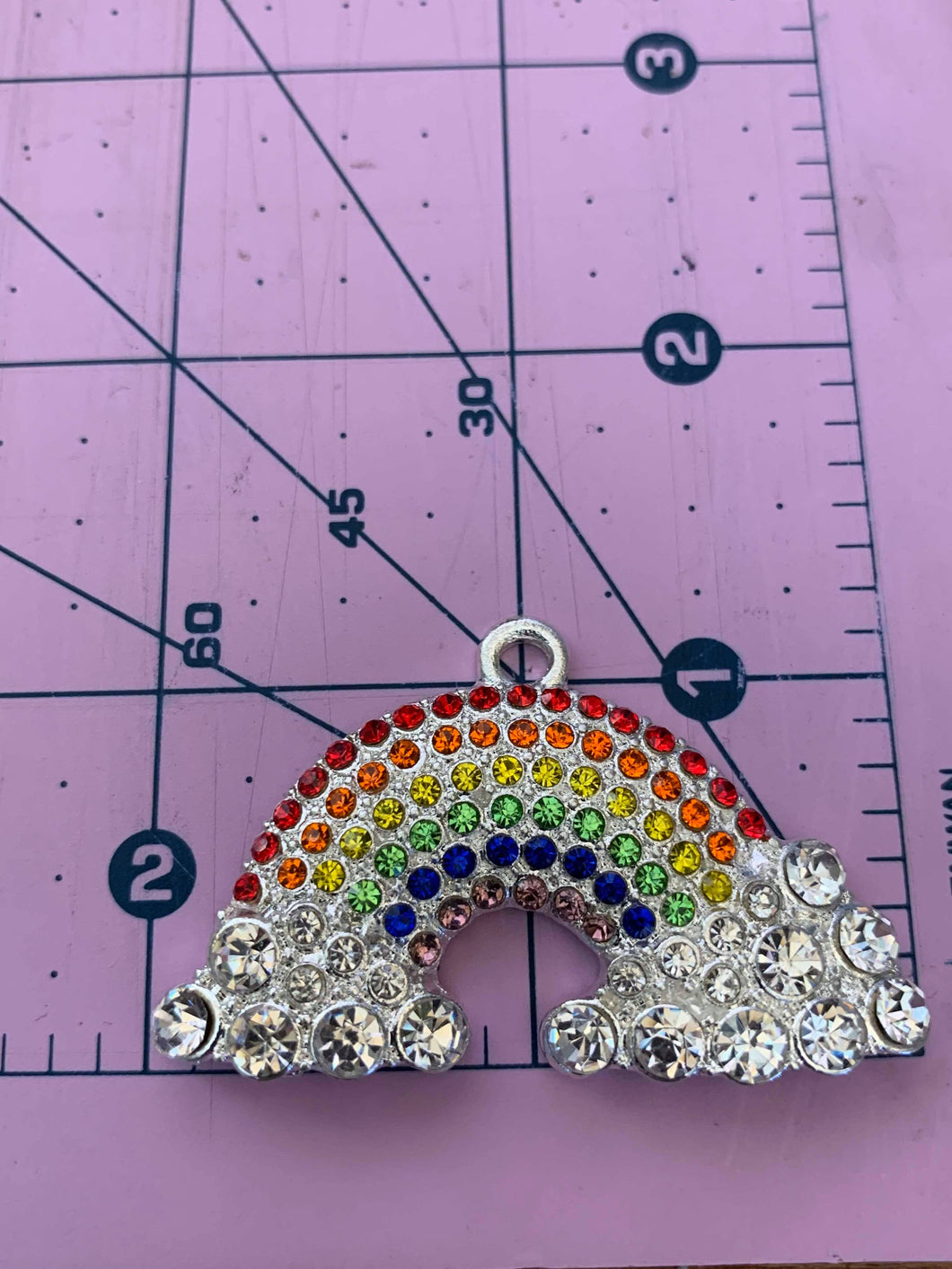 Rainbow with Clouds Rhinestone Pendant
