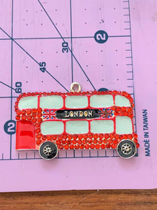 London Double Decker Bus Paint and Rhinestone Pendant