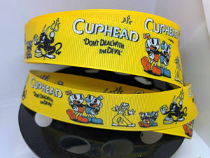 "CLEARANCE 1 yard 1 inch Cuphead Video Game ""Don't deal with the Devil"" Grosgrain Ribbon"