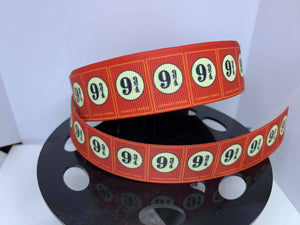 1 yard 1 inch Harry Potter Train Platform 9 3/4 Grosgrain Ribbon