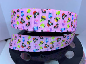 1 yard 1 inch Character Cupcakes Pink Grosgrain Ribbon Park food/ snacks Bow Making Ribbon Minnie Goofy PinK