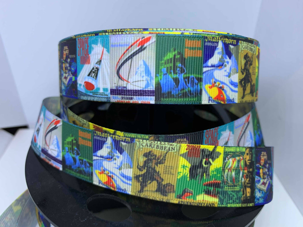EXCLUSIVE DESIGN 1 yard 1 inch Disneyland Attraction Posters Grosgrain Ribbon