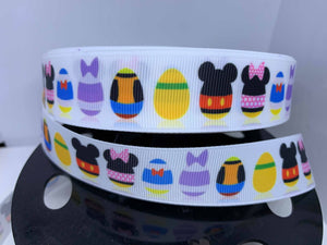1 yard 1 inch Mickey Disney Easter Egg Print Grosgrain Ribbon - Bow Making Ribbon Donald Goofy Minnie