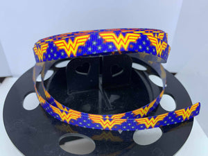 "1 yard 3/8"" Wonder Woman Grosgrain Ribbon -Bow Making Ribbon Perfect for cat Collars pr Small Dogs Superhero"