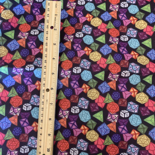 PRINT ON DEMAND 100% Cotton Colorful Game Dice Print Inspired Custom Fabric