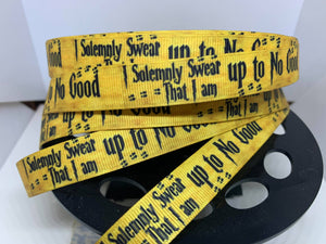 "1 Yard  5/8"" Harry Potter ""I Solemnly swear I'm up to no good"" Mischief Managed Grosgrain Ribbon"