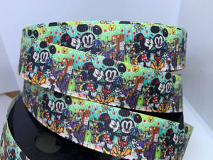1 Inch New Style Mickey Cartoons Print Grosgrain Ribbon -Mickey and Minnie Mouse